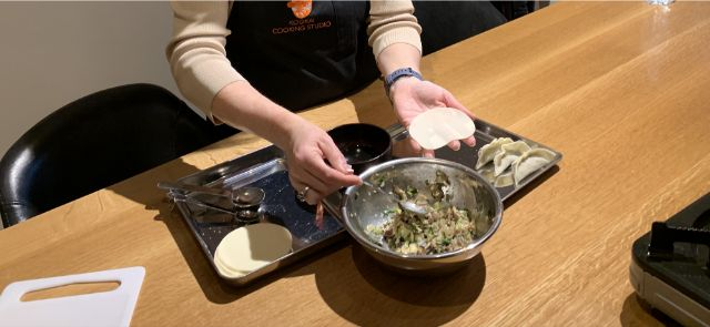 wrap a vegetable with the gyoza skin
