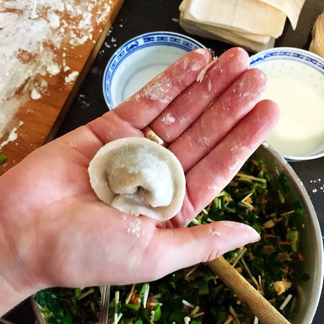 Homemade dumpling class with Market Walk to Home