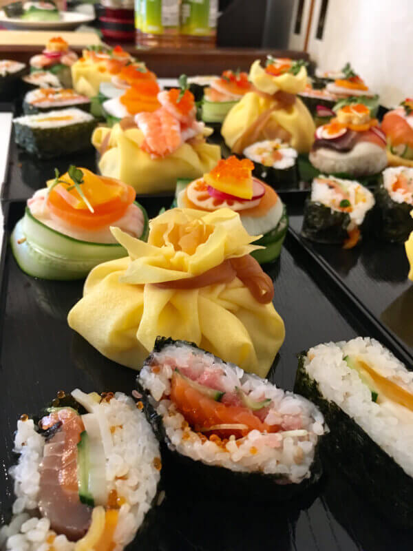 Colorful sushi and Tea Ceremony