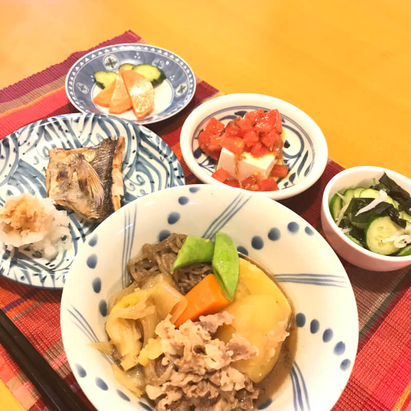"Homemade Japanese Meal "" うちのごはん"" Set meal of Nikujaga,  a Japanese dish of meat, potatoes and onion stewed in sweetened soy sauce and vegetables."