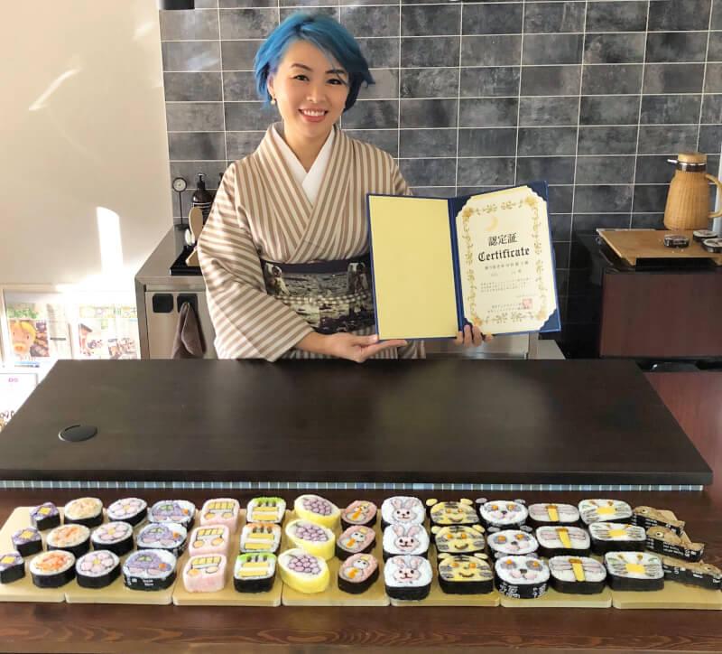 Art SUSHI ROLL with certification souvenir@Ginza-Tsukiji, Tokyo