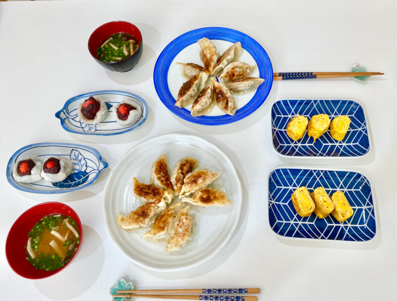 Home-style Vegetable or Meat Gyoza from scratch and Strawberry Daifuku
