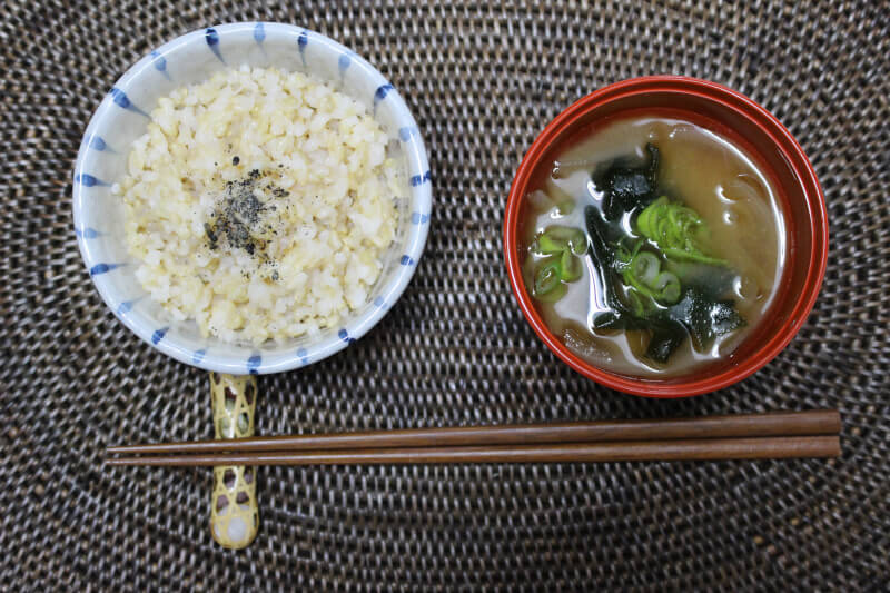 Brown rice& Misosoup,Veggie Fly or Tempura