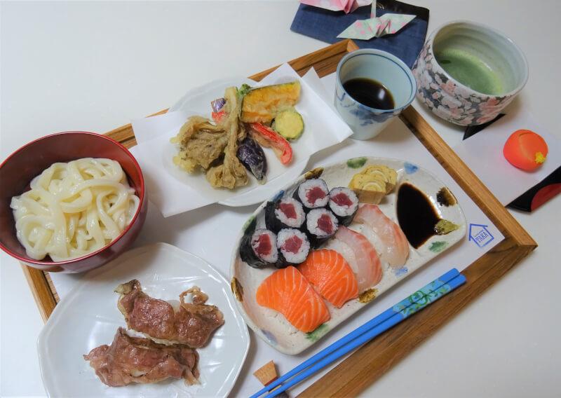 Handmade Udon & Wagyu Aburi Sushi with Tempura