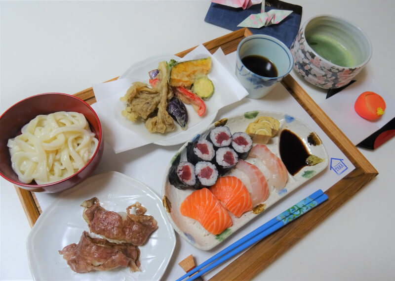 Handmade Udon ,Sushi(Wagyu Aburi Sushi/Nigiri Sushi/Maki Sushi),Tempura and Tea Ceremony(Matcha) in 3 hours
