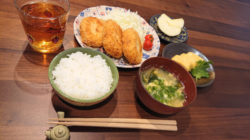 Homemade Korokke and Miso soup and Japanese-style rolled omelette Cooking Class