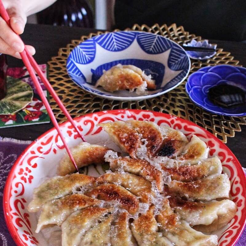 2 kinds of gyozas&Ozoni (Japanese new year's food Michi in the soup)