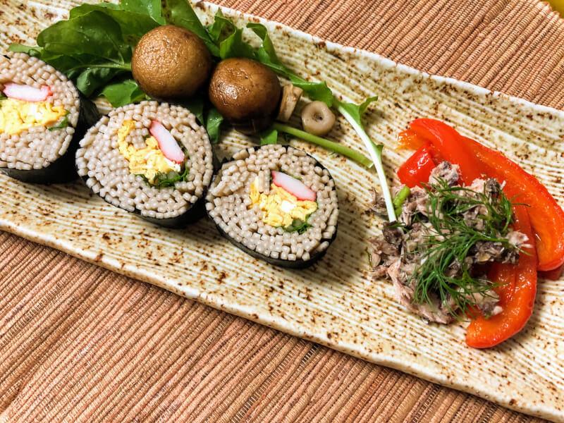 Homemade Soba-zushi (buckwheat noodle sushi roll)