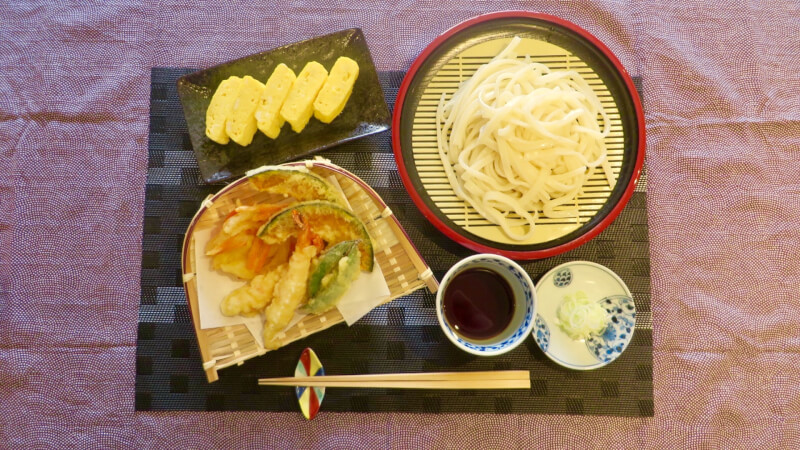 Tempura, Handmade Udon and Dashimakitamago(Japanese Rolled Omelet)