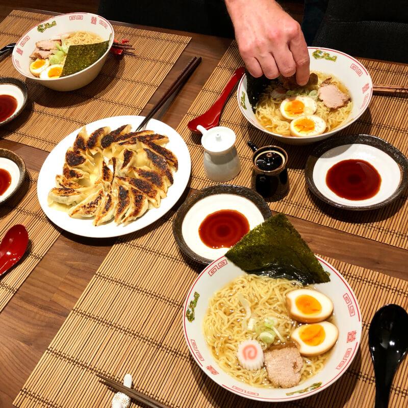 Enjoy eating Ramen and Gyoza