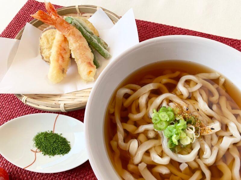 Handmade udon noodles & Tempura shrimp