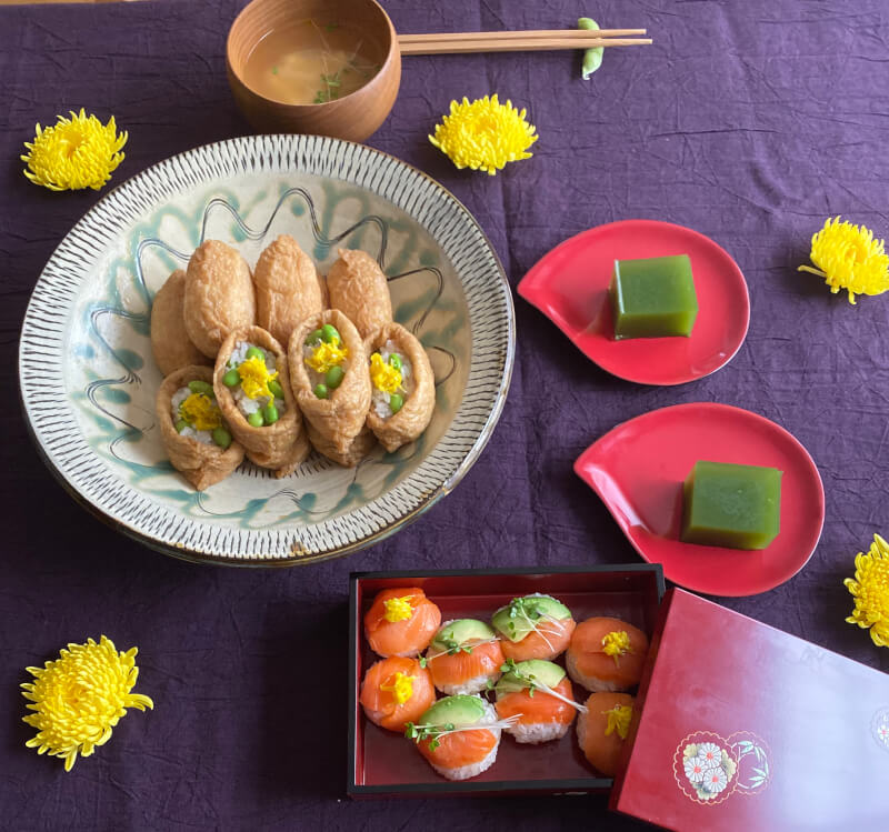 Make two types of sushi and miso soup! Inari Sushi, Salmon and Avocado Temari Sushi.