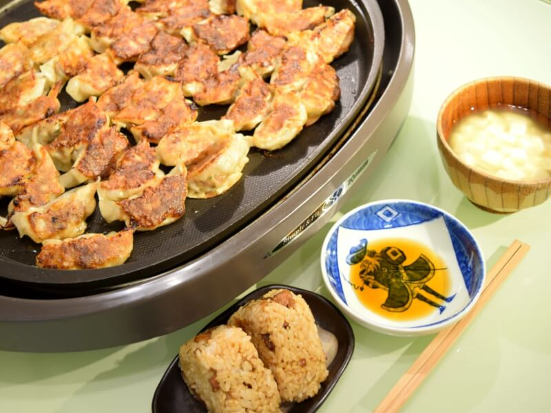 'Kashiwa-meshi' Chicken Rice Onigiri(Fukuoka's local speciality), Gyoza(Japanese dumplings, with meat or veggie), Miso Soup