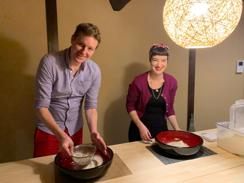 Experience making soba noodles in an old private house.