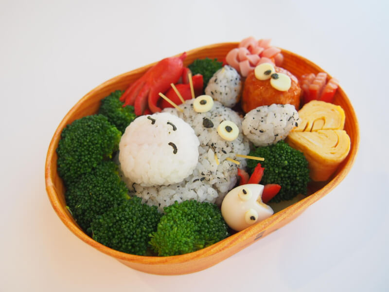 Cute character bento made by friends for group