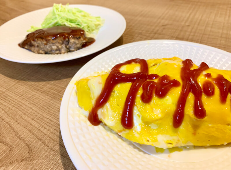 Japanese Youshoku plate (Omurice and Tofu hamburger steak) Cooking Class at Tokyo