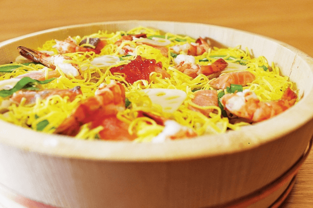 (For a limited time ) Japanese doll festival Chirashi sushi with japanese omeret .miso -supu