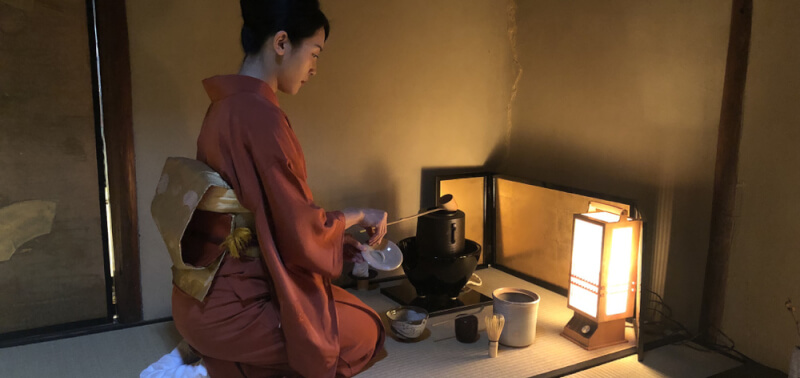 The tea ceremony and matcha making at 300 years old samurai house