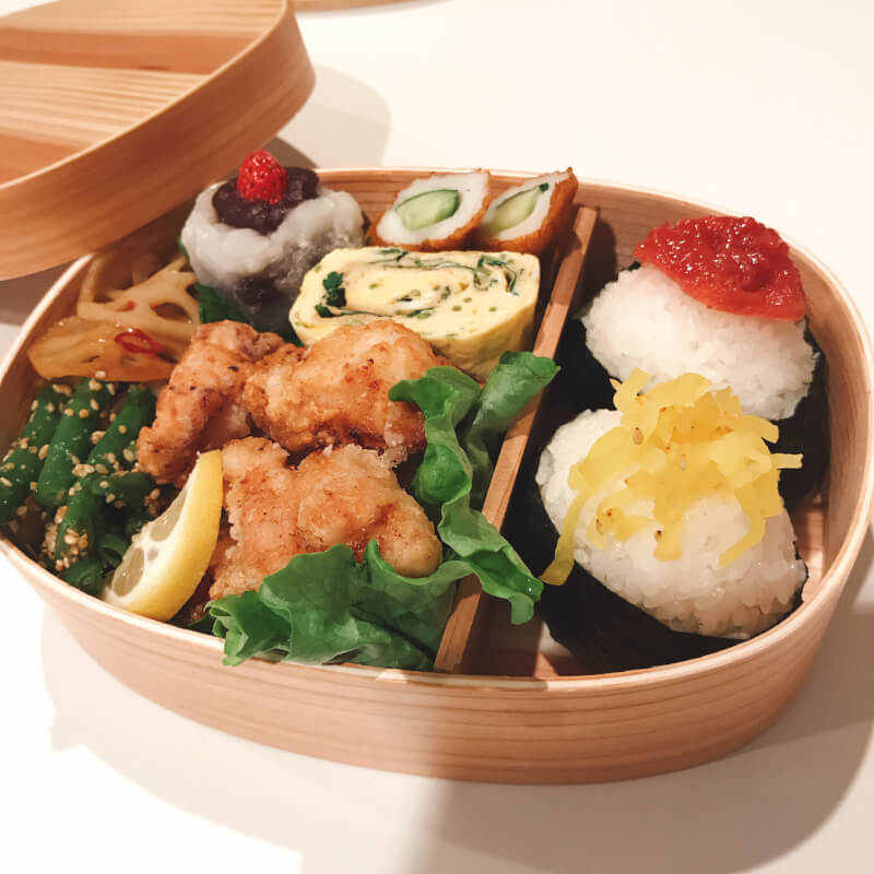 Kara-age and Onigiri Bento Box