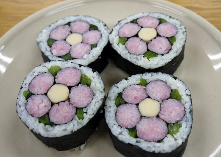 Designed sushi rolls made in Okinawa, the southernmost tip of Japan