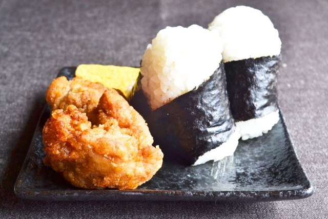 Karaage( Chicken)and Onigiri(rice ball)