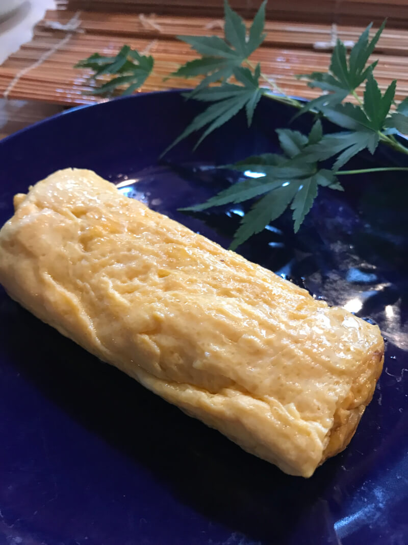 Dashimaki (Japanese omelette) in a Kyoto traditional way