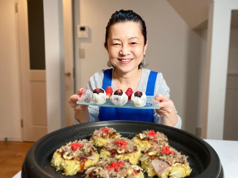 Okonomiyaki(meat/veggie), Strawberry Daifuku, Miso soup *online class*