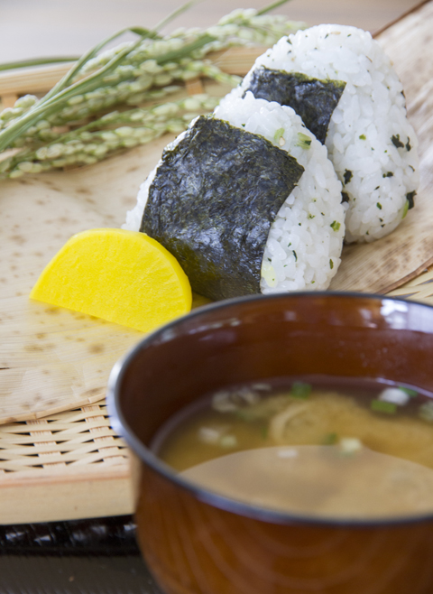 Vegan Miso soup and Onigiri with handmade pickles