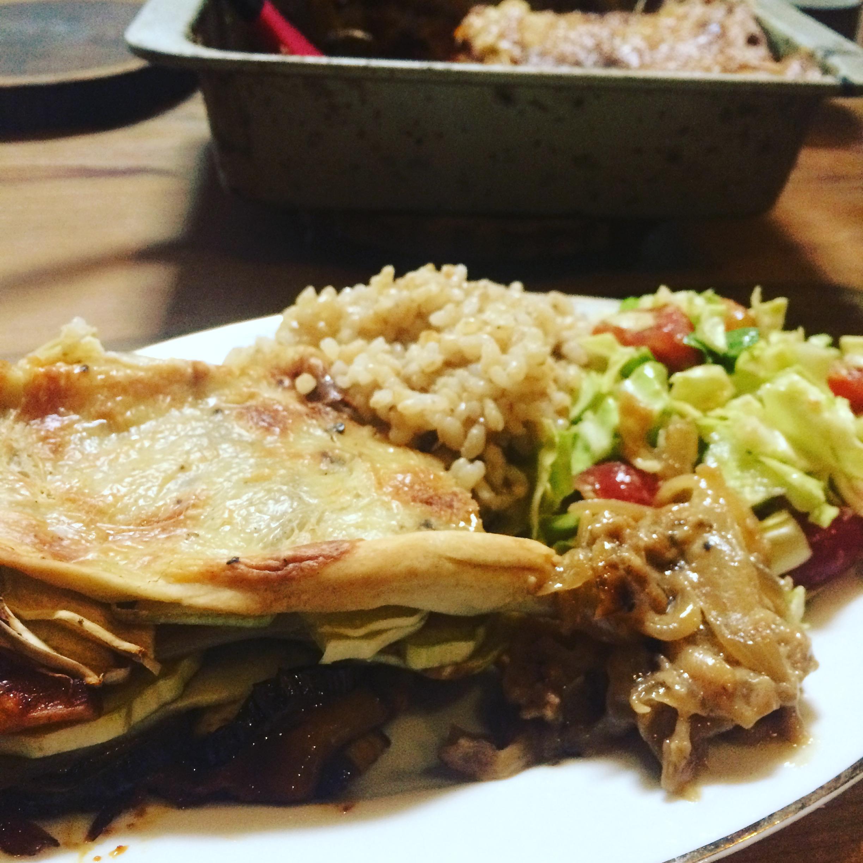 Vegan  Lasagna with healthy vegan cheese made of Sake lees